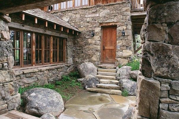 Камень и дерево в интерьере фото