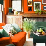 Сочные фрукты: лимонный, гранатовый, грушевый, апельсиновый и цвет лайма в интерьере — 45 идей