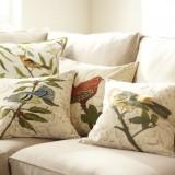 Подушки с рисунками: бабочки, птички, собаки и растения