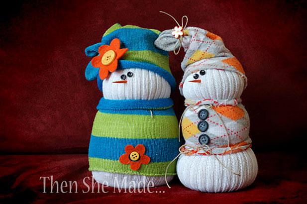 Игрушка снеговик из носков своими руками