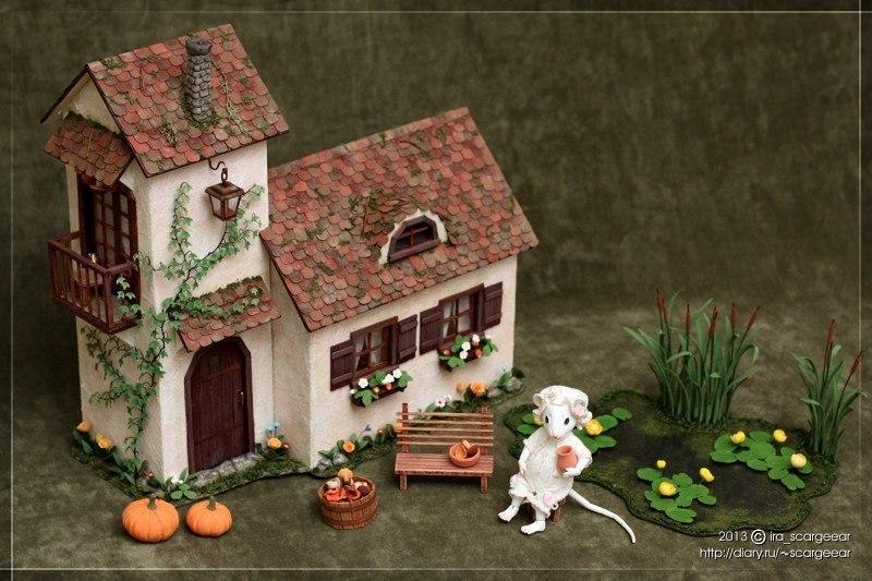 Делаем домик из бумаги для мини-сада своими руками
