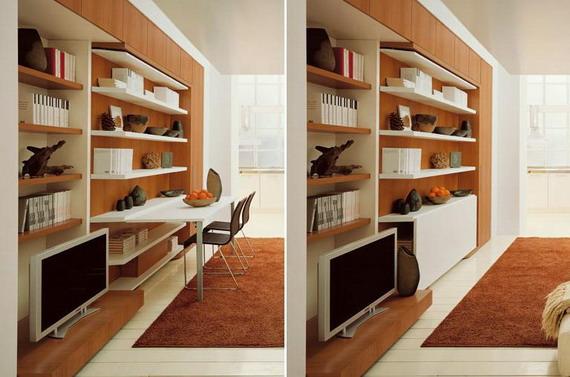 Трансформация мебели в гостиной - создание рабочего места