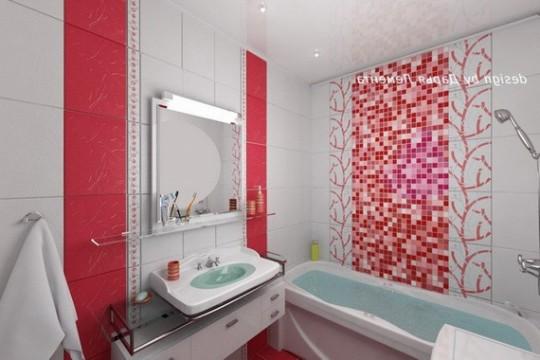 Декор в ванной комнате двух цветов фото