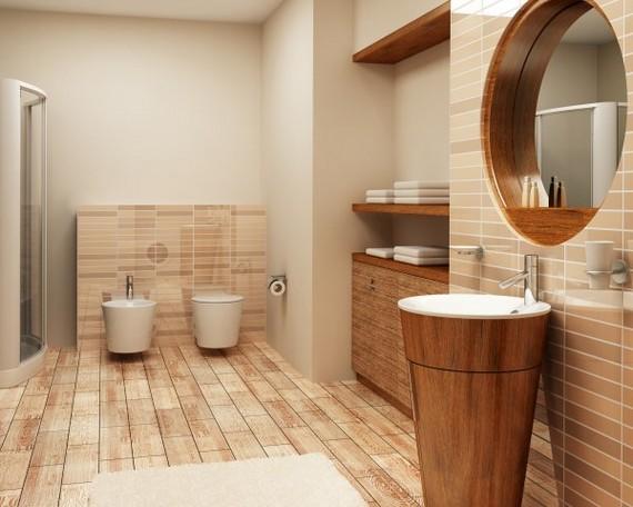 Tiling wooden bathroom floor